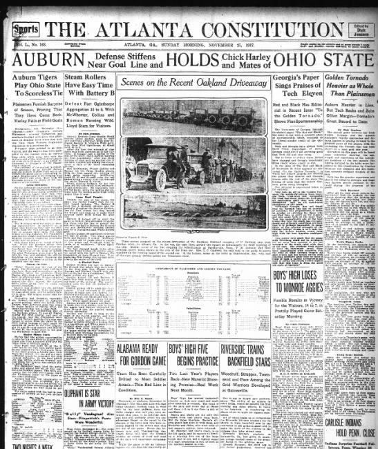 Auburn tie with Ohio State 1917 -