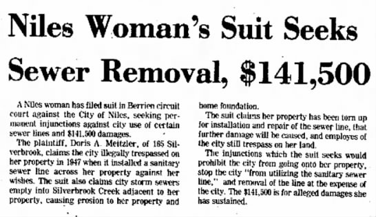 Doris A Meitzler's suit against Niles, Michigan. Doris was Elmore's wife. - June 1975 -