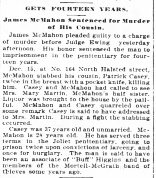 James McMahon from the Daily Inter  Ocean (Chicago, IL,) Friday Feb 12, 1897 -