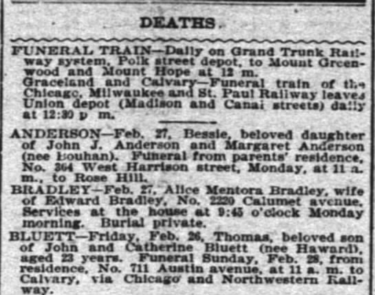 Obit for Thomas Bluett 28 Feb. 1897 - DEATHS. FUNERAL TRAIN Dally on Orand Trunk Rait...