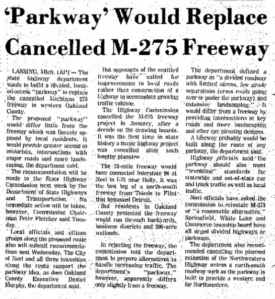 'Parkway' Would Replace Cancelled M-275 Freeway -