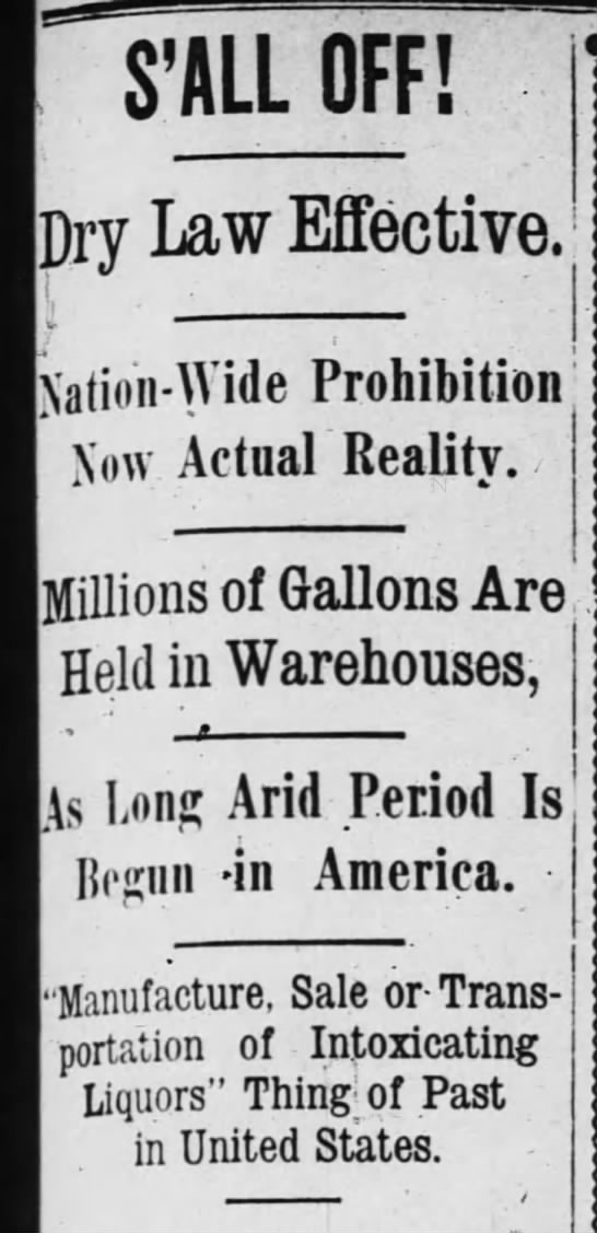 Prohibition begins -