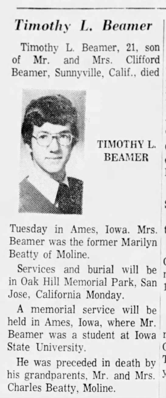 Timothy L. Beamer, age 21, student at ISU, died -