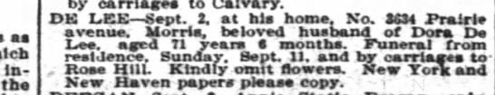 Morris De Lee, great great grandfather, obituary -