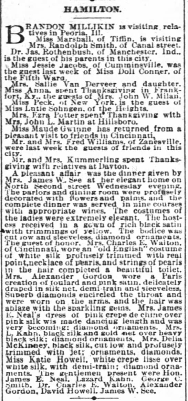 Hamilton Dinner Given By Mrs James See - HAMILTON. BRAK Uvei RA?TDOX MILLTKIX is...