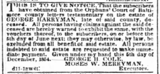 Harryman George Estate Ad