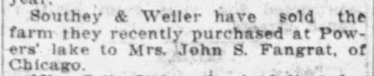 "John Fangrat - Buys Plautz Farm Property - Southey & ""Weller have old the farm they..."