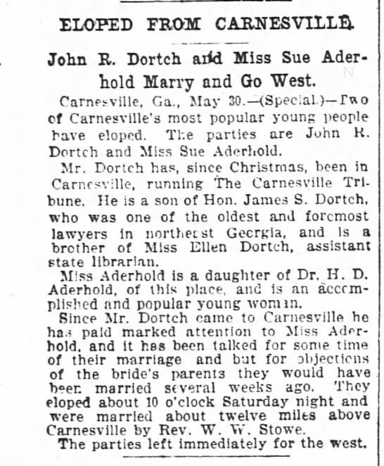 Newspaper Article Marriage Record John R Dortch and Sue