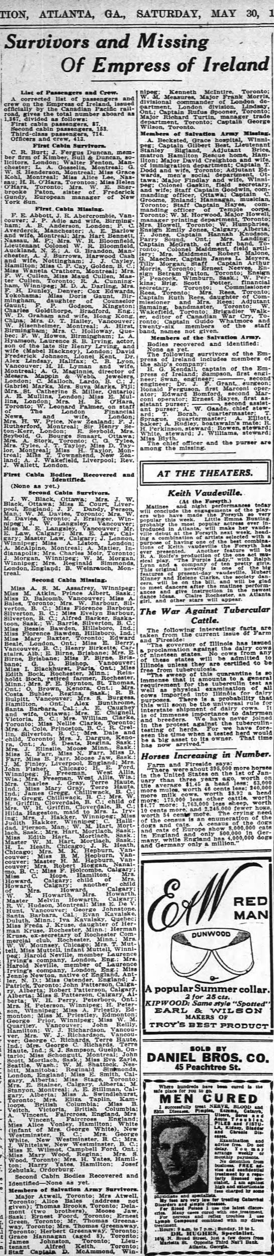 1914-05-30 FARR MISS N, MISS D, MISS B - ATLANTA GA. SATURDAY MAY so Survivors and...