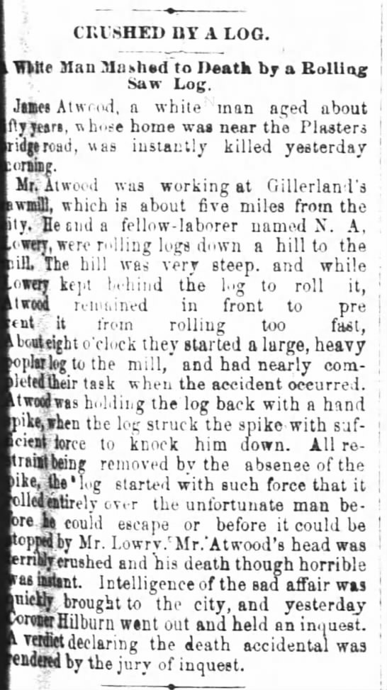 Atwood, James death The Atlanta Constitution.  Aug. 28, 1884. page 7. -