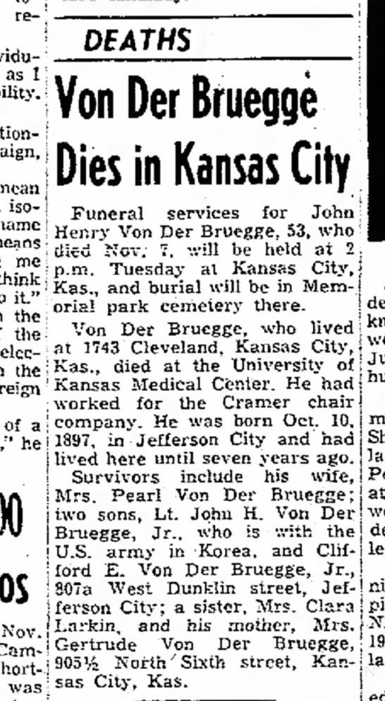 13 Nov 1950.  Colonel's father passed away while LTC VDB is in Korea. Very sad! -