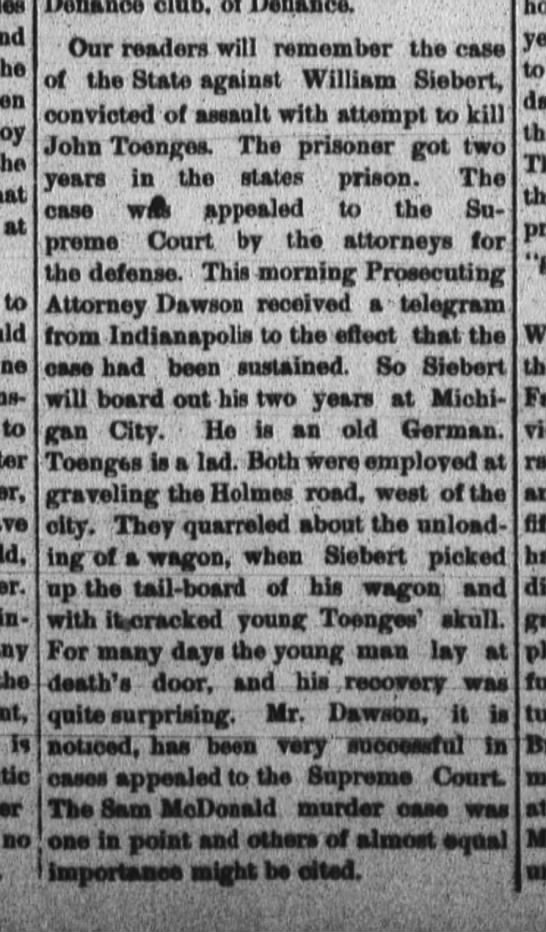 R/John C. Toenges The Fort Wayne Daily News, May 27, 1884, p.1 -