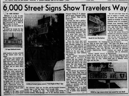 6,000 Street Signs Show Travelers Way - Dec 15, 1960 -