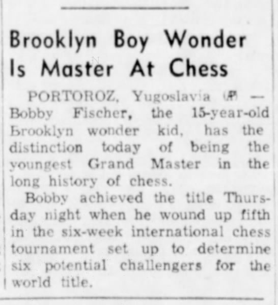 Brooklyn Boy Wonder Is Master At Chess -