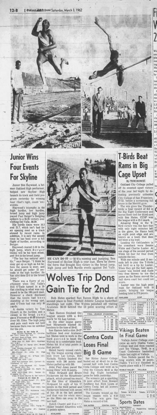 Junior Wins Four Events for Skyline  March 03, 1962 -