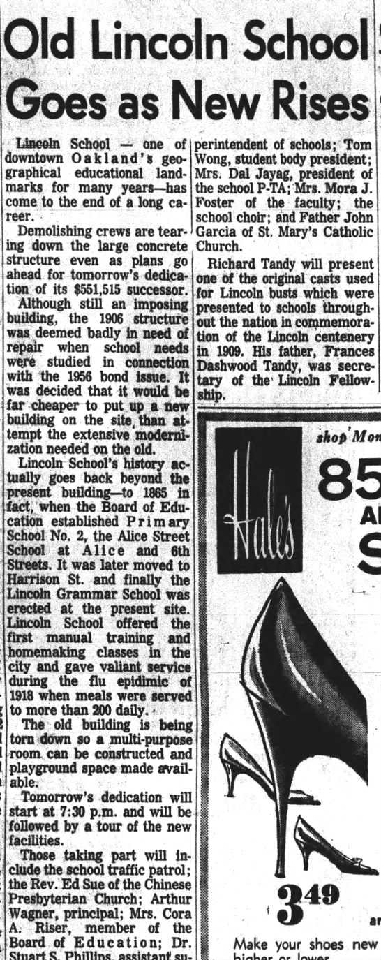 Old Lincoln School Goes and New Rises - Oakland Tribune Apr 16, 1961 -