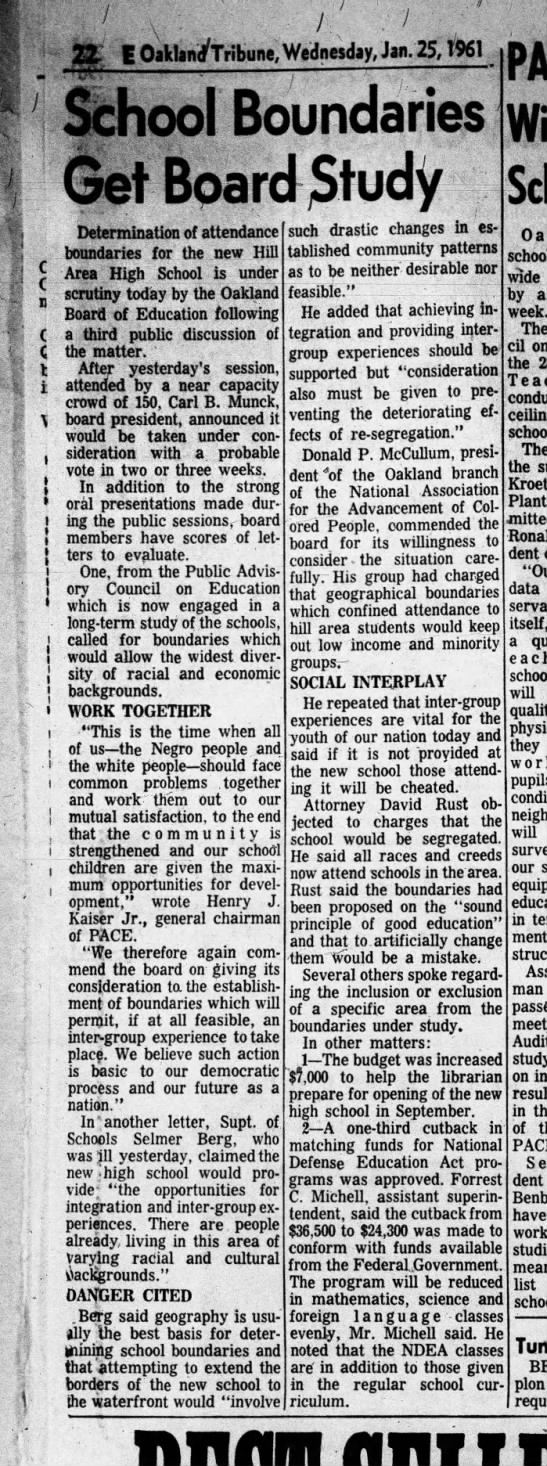 School Boundaries Get Board Study _ Jan 25, 1961 -