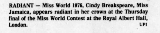 19_November_1976_The_Naples_Daily_News_Naples, Florida - RAD1ANT — Miss World 1976, Cindy Breakspeare,...