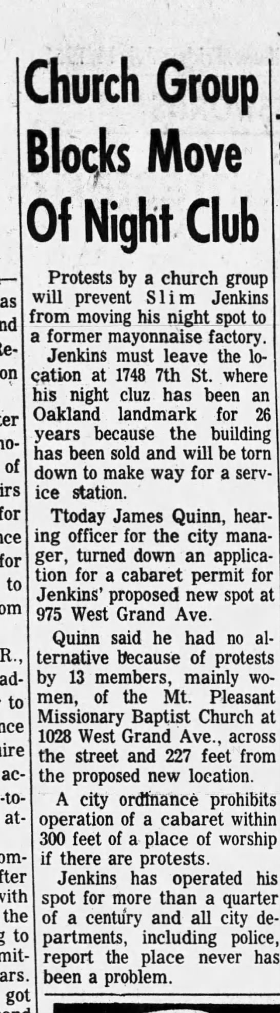 Church Group Blocks Move Of Night Club- Slim Jenkins Jul 14 1961 -