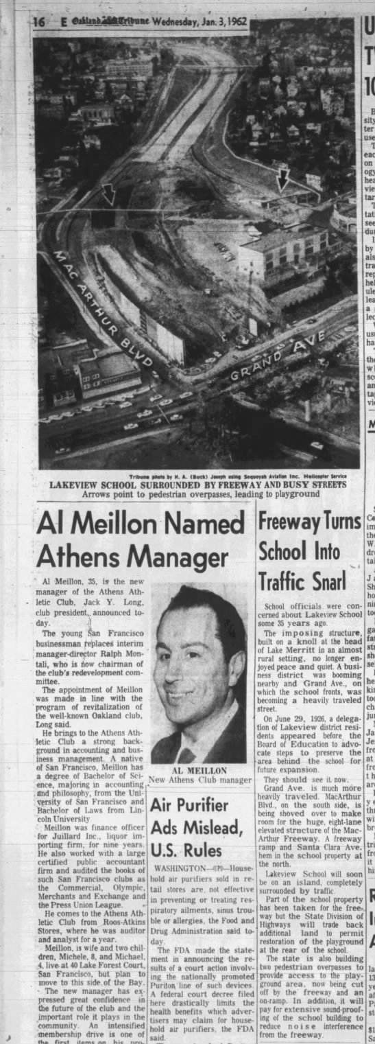 Freeway Turns School into Traffic Snarl - Lakeview School - Jan 03, 1962 -
