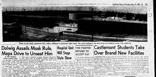 Castlemont Students Take Over Brand new Facilities - Sep 21, 1961 -