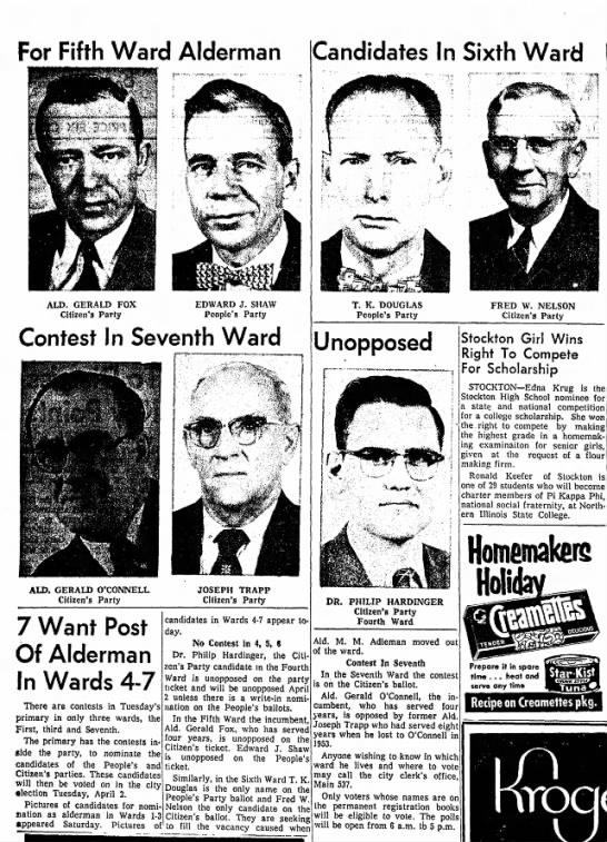 Freeport Journal-Standard, Freeport, IL - 11 February 1957, page 2. -