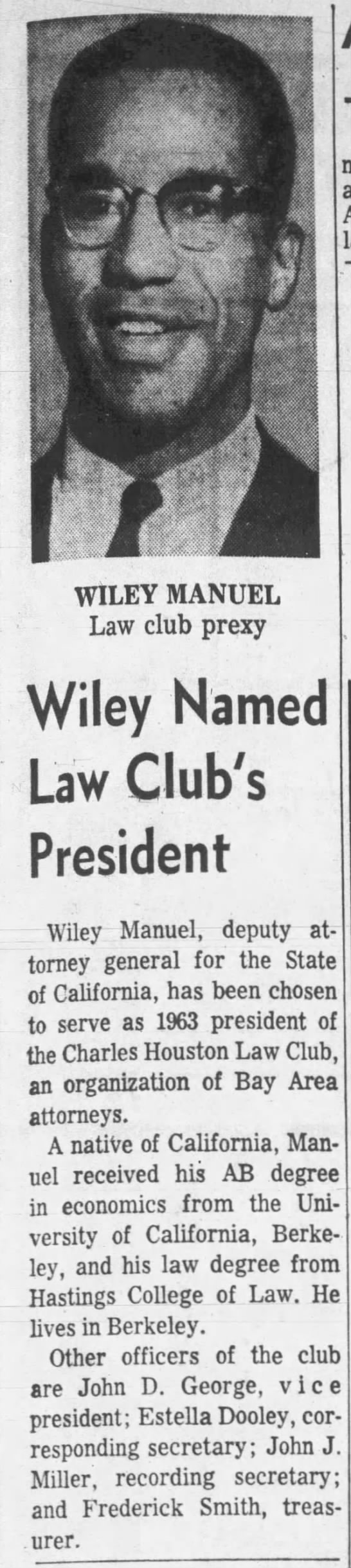Wiley - pres. of Charles Houston law club -