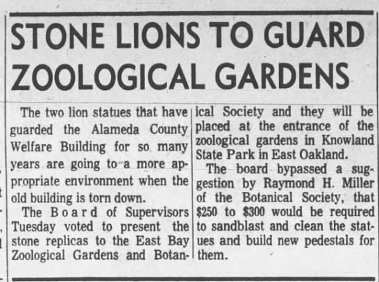 Stone Lions to Guard Zoological Gardens May 08, 1963 -