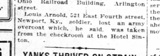 1918-12-26 Arnold, Louis lost army overcoat -
