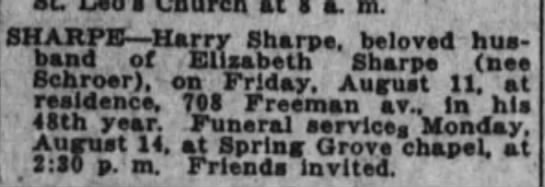 Harry Sharpe, died