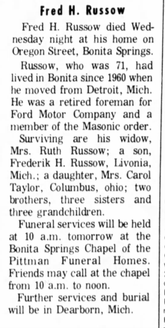 - Fred H. Russow Fred H. Russow died Wednesday...