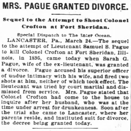 - MRS. PAGUE GRANTED DIVORCE. Seqacl to the...