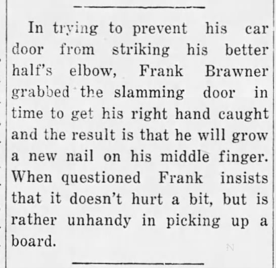 Social news: Injured hand, 1932 - In trying to prevent his car door from striking...