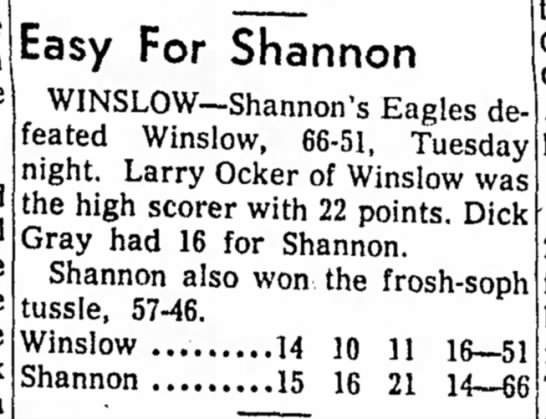 Freeport Journal-Standard, 20 February 1957, Area Basketball, Easy For Shannon -