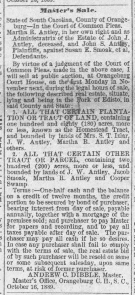 """Master's Sale,"" Times and Democrat [Orangeburg, SC] (30 Oct 1889); p. 4, col. 4 -"