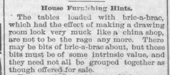 House Furnishing Hints, 1895 -