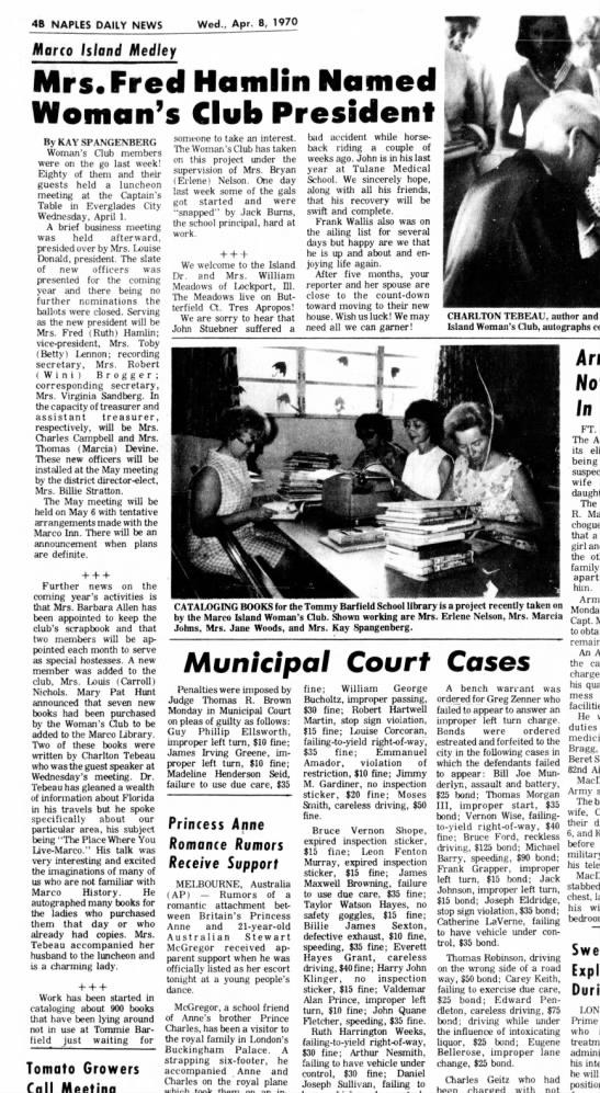 Mrs. Fred Hamlin Named Woman's Club Prsident -