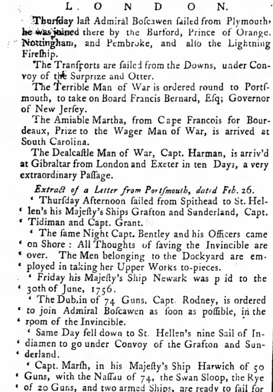 HMS Invincible Upper Works taken to peices Feb 1758 - LONDON. TharftJay laft Admiral Bofcawen failed...