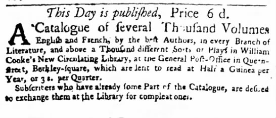 [William Cooke's New Circulating Library, London] -