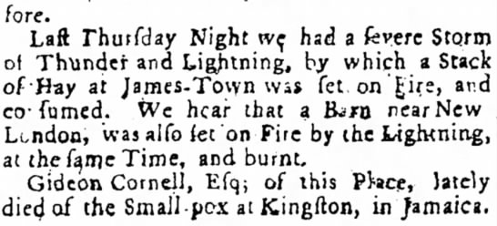 Small pox in Jamaica, Fires in Jamestown. -