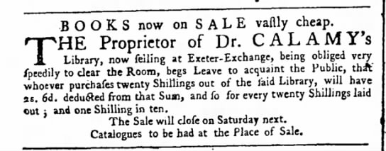 Advertisement concerning the sale of books of the late Edmund Calamy -