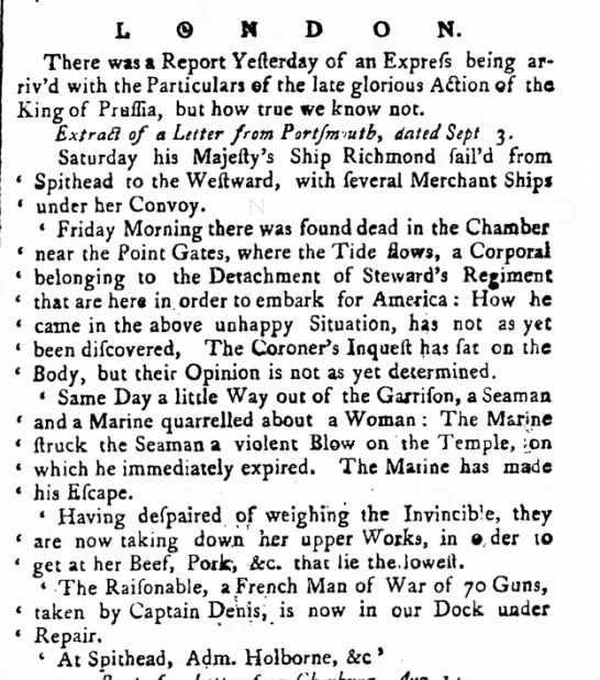 1758 Salvage of Beef from Invincble - L © N D ON. There was a Report Yefterday of an...