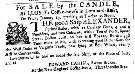 1758 Boston built privateer with cohorns - ^OTTTLTE by the ^TjTDXE, At LLOVD'S Offce-hdufe...