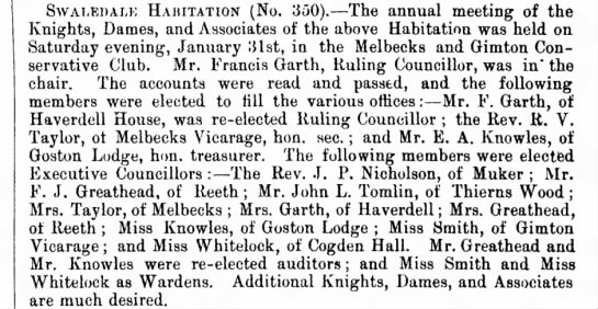 primrose league gazette 14 feb 1891 - SWALEDALE HABITATION (No. 350).—The annual...