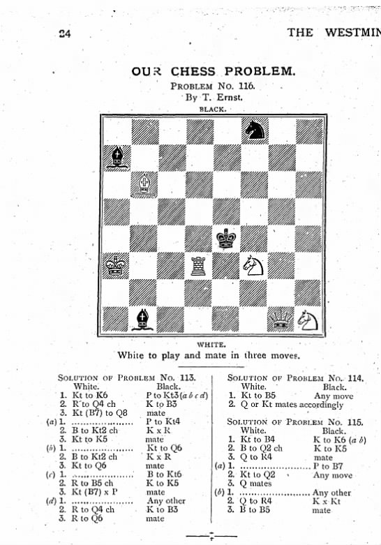 - THE OUR CHESS PROBLEM. PROBLEM NO. 116. . • ' ....