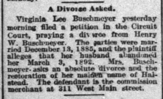 Buschmeyer divorce C-J 3-5-1893 -
