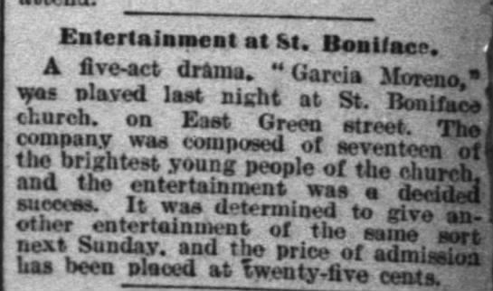 April 17 1893Entertainment at St. Boniface -