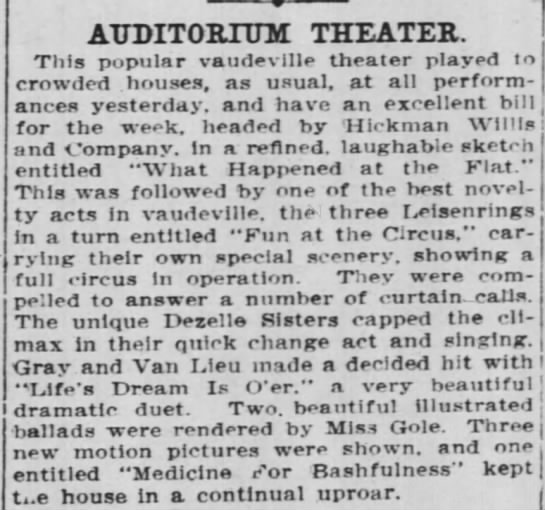 "The Cincinnati Enquirer (Ohio):  1 Mar 1909;  ""Dezelle Sisters"" -"