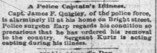 John Quigley Monday July 22, 1889  Indy News .. -