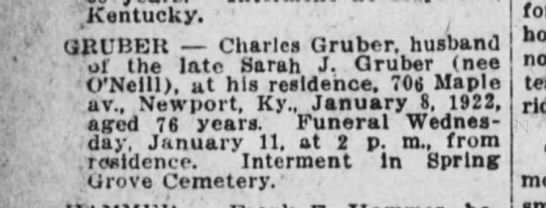 Charles Gruber obit The Cincinnati Enquirer 11 Jan 1922 -
